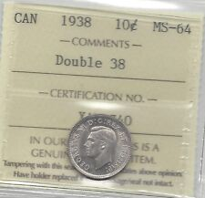 **1938**, ICCS Graded Canadian, Silver 10 Cent, **MS-64**Re-Engraved Date