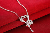 Womens 925 Sterling Silver Key Lock Heart CZ Crystal Pendant Chain Necklace #N85