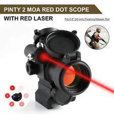Pinty 1x 30mm Red Dot Sight w/ Red Laser 2 Moa Red Dot Scope w/Flip Up Lens Caps