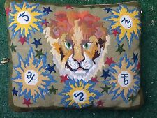 Vintage needlepoint pillow lion design 16 by 20 inches