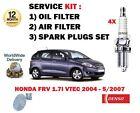 para HONDA FRV 1.7 VTEC D17A2 2004-2007 NUEVO ACEITE FILTRO DE AIRE + Bujías Set