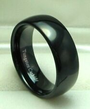 Men 8mm BLACK TUNGSTEN CARBIDE comfort fit ring size 8 or 8.5