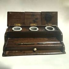 Wooden Desk Top Writing Box with Drawer and 3 Antique Inkwell Pots