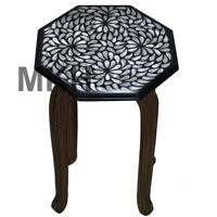 Mosaic Coffee Table Top Black Marble Side Table Inlay Pietra Dura Vintage Art