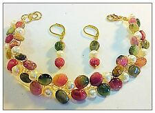 Jewelry Set Watermelon Tourmaline Gold Bracelet & Earrings, Cultured Pearls