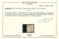 Sardegna 1853 - 40 c. rosa chiaro - Sassone 6 - Certificato - Usato ASI016