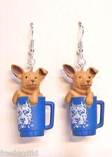 "Tan Toy Tea Cup Chihuahua Dogs 1"" Hood Hounds Figures Figurines Dangle Earrings"