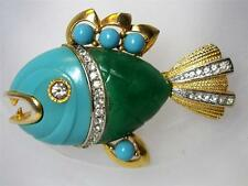 CARNEGIE 'Primitives on Parade' Faux Turquoise & Jade Piranha Fish Pin Brooch