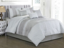 11P Keani Quilted Abstract Wavy Embroidery Comforter Curtain Set White Gray King
