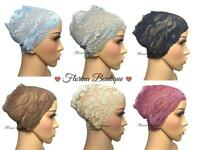Pretty Lace underscarf bandana cap under hijab, stretchy lovely material