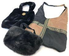 Vintage Lot of 3 Synthetic Silky Faux Fur Hippie Cocktail Shoulder Bag Purses