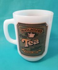 Vintage Anchor Hocking Aunt Jenny's Herb Herbal Tea Mug Cup Jennys Milk Glass