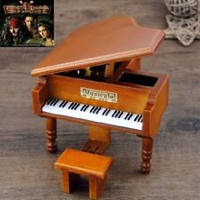 WOOD PIANO WIND UP MUSIC BOX : Pirates of Caribbean - He's A Pirate