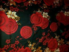 Beautiful black red brown floral 100% cotton bed sheet with 2 pillowcases