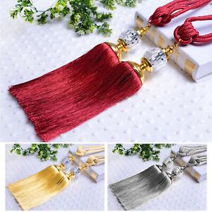 2PCS Curtain Holdbacks Rope Tie Backs Tassel Tiebacks Beaded Ball Decor