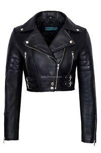 Ladies Leather Jacket Black Lambskin Slim Fit Short Body Biker Style Jacket 5625