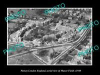 OLD POSTCARD SIZE PHOTO PUTNEY LONDON ENGLAND AERIAL VIEW MANOR FIELDS c1940