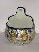 Vintage Mexican Pottery Wall Pocket Hanging Vase Planter La Corona Mexico