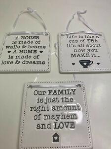 Hanging Ceramic Home Plaque 3 Designs 9cm Square Family House Love Kitchen