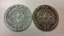 "AZTEC MAYA CALENDAR 3.5 OZ METAL GOLD SILVER COLOR COLLECTIBLE 3"" HEAVY MEDAL"