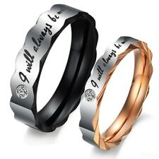 Alisouy Fashion lace Titanium Steel Promise Couple Ring Wedding Bands Lover ring