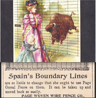 Victorian 1800's Wild Buffalo Page Fence Spanish American War Farm Ad Trade Card