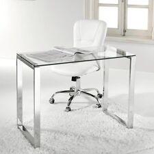 Hogar24.es-Escritorio, mesa ordenador, estudio, oficina, cristal y pata cromada