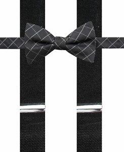 Alfani Men's Bow Tie Suspenders Set Black Grid Pre-Tied Silk Accessory $65 446