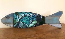 Stained Glass Mosaic Fish  Wall Decor Handmade Ocean Sea OOAK