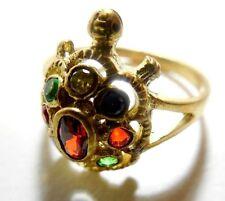 Thai Amulet Holy Nok Phra Gow 9 Colors Lucky Gem Stone Naga Eye Turtle Ring