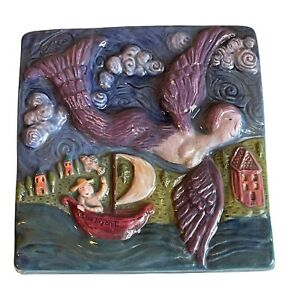 PEWABIC Detroit Pottery Artist Laurie Eisenhardt Tile Flying Mermaid Sailboat