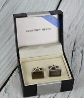 Geoffrey Beene Mens Cuff Links Shirt Cufflink Formal Business Rectangular Bronze