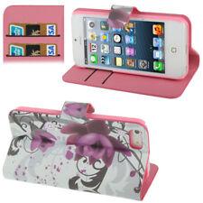 Book Tasche für Apple iPhone 5 Blüte pink schwarz weiß Handyhülle Etui Case