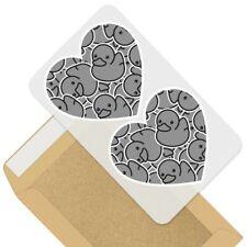 2 x Heart Stickers 7.5 cm - BW - Rubber Ducks Duckling  #38025