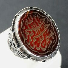 Sterling Silver Mens Ring Carnelian Aqeeq engraved Islamic Calligraphy Handmade