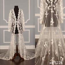 Gothic Fairy White Ivory Lace Cape Cloak Shawl Wedding Jacket Bridal Wrap Train