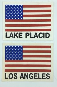 "Vintage USA Olympics Flag Patch Lot X 2  Lake Placid NY & Los Angeles 6.5"" x 5"""
