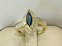 14K Yellow Gold Diamond Cocktail Ring with Marquise Sapphire.size 7.25