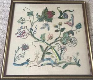 Vintage Flower Vine & Animal Framed Embriodered Tapestry On Cotten/Linen