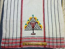 Vintage Linen Kitchen Toweling Towel Fabric Pretty Embroidered Glass Goblet