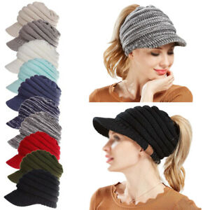 Knitted Hat Women Autumn Winter Hats Ladies Girls Horsetail Cap Bonnet Warm New