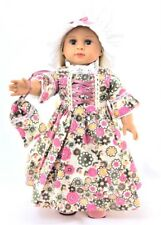 Flower Colonial Dress +Mobcap +Purse 18 in Doll Clothes Fits American Girl