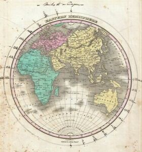 print  poster framed canvas vintage map OLD painting art  world earth globe