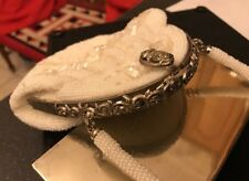 VINTAGE Orné Volutes Plaqué Argent Blanc Perles Paillettes Soirée Sac à Main Sac