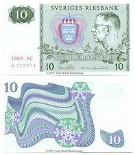 Sweden 10 Kronor 1980 P-52e First Prefix 'A' Banknotes UNC
