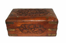 A Vintage Wooden Trinket Box Jewelry Box handcrafted Brass decorated Inlay ART