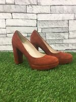 TAMARIS Rust Orange 100% Suede Leather Block Heel Court Shoes Size UK 4 EU 37