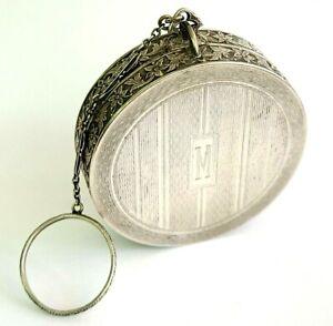 Antique EVANS Sterling Silver Finger Ring Dance Vanity Compact.