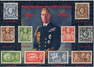 GB KGVI BEAUTIFUL DISPLAY OF HIGH VALUE DEFINITIVE & FESTIVAL STAMPS 1939 1951