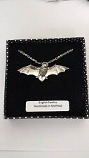 A34 Bat english pewter 3D Platinum Necklace Handmade 18 INCH